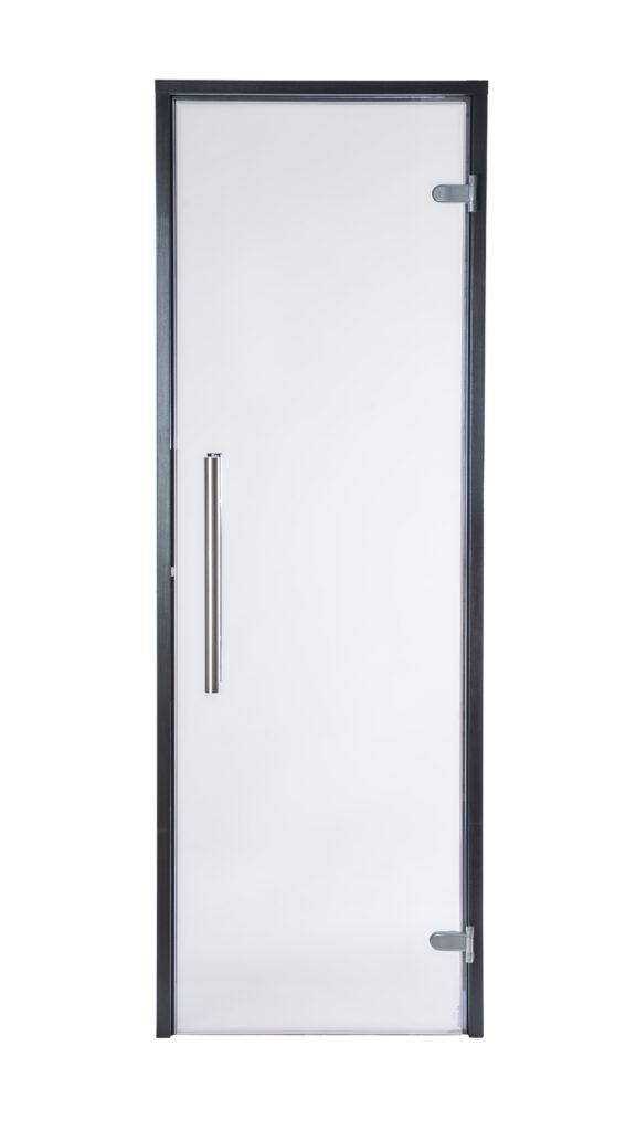 Kirgas klaas, vertikaalne metall/metall käepide, abloy hallid hinged, rull-lukk sulgur, must leng