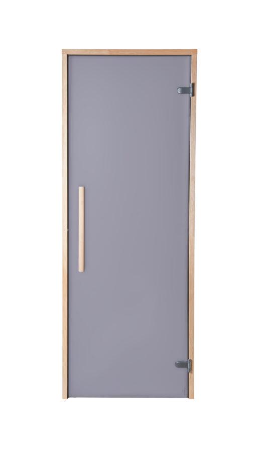 Matistatud hall/satiin klaas, vertikaalne käepide, abloy hallid hinged